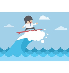 Businessman surfing on wave Business concept vector image