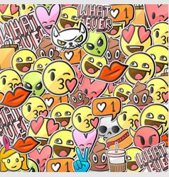 emoji smiley faces background emoticon stickers vector image vector image