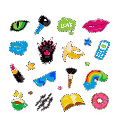 fashion patch badges with lips cat paw cat eye vector image