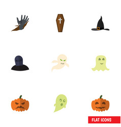 flat icon celebrate set of pumpkin tomb witch vector image
