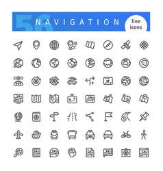 navigation line icons set vector image