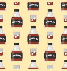 Whiskey bottle glass seamless pattern liquor vector