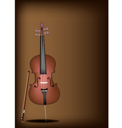 A Beautiful Brown Cello on Dark Brown Background vector image