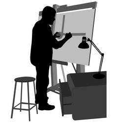 architect working on blueprint vector image vector image