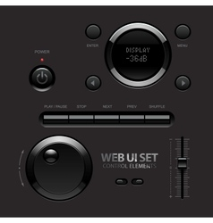 Dark Shiny Web UI Elements Buttons Switches bars vector image vector image