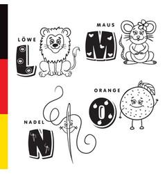 deutsch alphabet lion mouse stylus orange vector image vector image