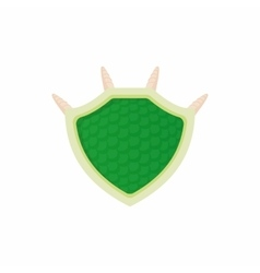 Green protective shield icon cartoon style vector image