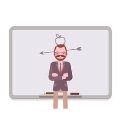 Man against the blackboard with drawn apple and vector