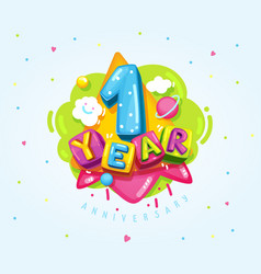 1 year birthday vector image