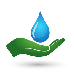 a drop of water and hand vector image