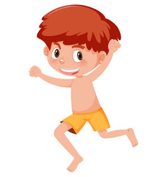 A ginger boy on white background vector