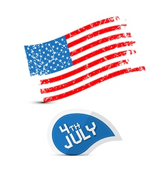 American Flag - Dirty Grunge - 4th July Symbol vector image
