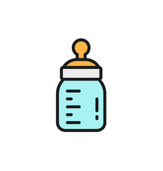 babottle with teat flat color line icon vector image