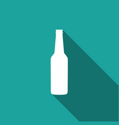 beer bottle icon isolated with long shadow vector image