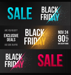 black friday banner set template with explosion vector image
