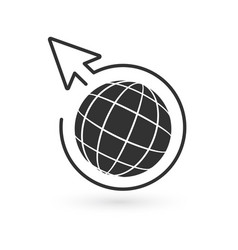 black globe and linear circle with arrow around vector image