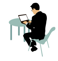 Black silhouette man sitting behind computer on a vector