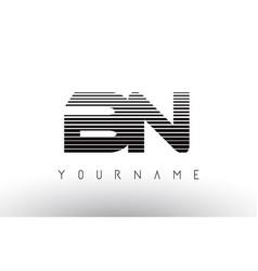 bn black and white horizontal stripes letter logo vector image