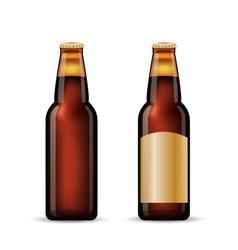 brown beer bottle set realistic set of two vector image