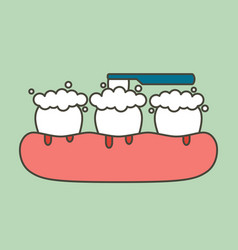 Brushing teeth with bleeding on gum and tooth vector