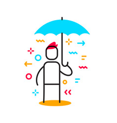 business of a man standing under blue umbrella vector image