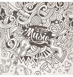Cartoon hand-drawn doodles Musical vector image