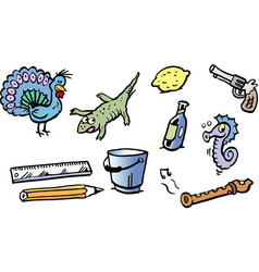 Cartoon of a set of funny small drawings or icons vector