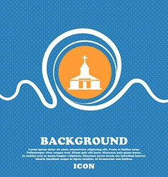 Church Icon sign Blue and white abstract vector