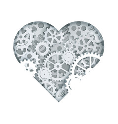 clock mechanism heart in vector image