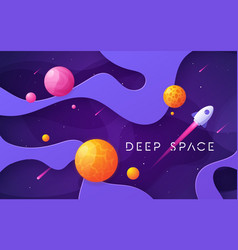 Colorful cartoon outer space background design vector