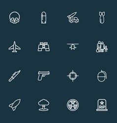 Combat icons line style set with fighter nuclear vector