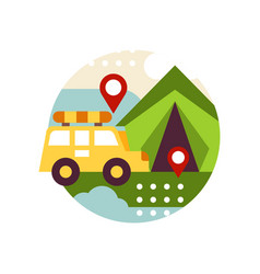 Creative landscape with retro van bus and tent in vector