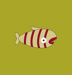 cute cartoon piranha with sharp teeth vector image