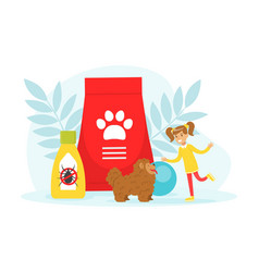 cute girl playing and caring her pet dog vector image