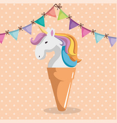 Cute unicorn with ice cream kawaii character vector