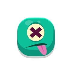 Dizzy monster square icon vector