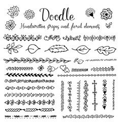 Doodle handwritten stripes and floral elements vector