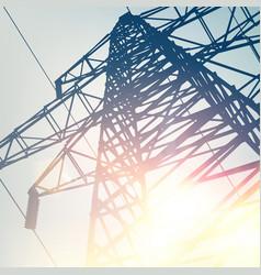 electrical transmission line of high voltage over vector image