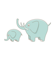 elephant mom and baby vector image