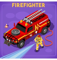Firefighters 02 People Isometric vector