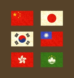 Flags of China Japan South Korea Taiwan Hong Kong vector