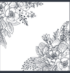 floral backgrounds with hand drawn flowers and vector image