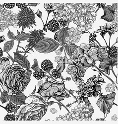 Floral seamless pattern with blooming roses vector
