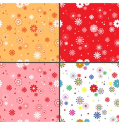 Four seamless patterns with daisy flowers vector