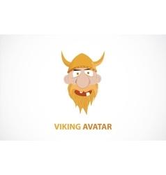 Funny cartoon viking avatar vector image