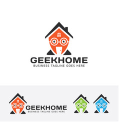 geek home logo design vector image