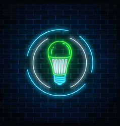 glowing neon sign of green led light bulb in vector image