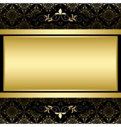 Golden frame on black vintage pattern vector