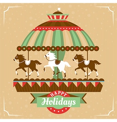 Greeting card with merry-go-round vector