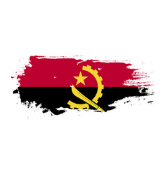 Grunge brush stroke with angola national flag vector